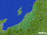 新潟県のアメダス実況(風向・風速)(2020年08月25日)