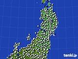 2020年08月31日の東北地方のアメダス(風向・風速)