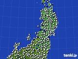2020年09月01日の東北地方のアメダス(風向・風速)