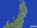 東北地方のアメダス実況(風向・風速)(2020年09月02日)