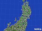 2020年09月19日の東北地方のアメダス(風向・風速)