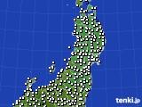 2020年09月20日の東北地方のアメダス(風向・風速)