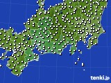 2020年09月21日の東海地方のアメダス(風向・風速)