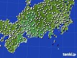 2020年09月25日の東海地方のアメダス(風向・風速)
