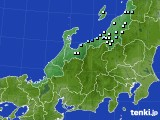 北陸地方のアメダス実況(降水量)(2020年10月05日)