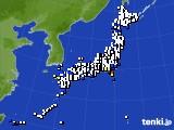 2020年10月10日のアメダス(風向・風速)