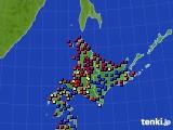 北海道地方のアメダス実況(日照時間)(2020年10月11日)