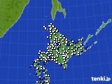 北海道地方のアメダス実況(風向・風速)(2020年10月11日)