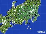 関東・甲信地方のアメダス実況(風向・風速)(2020年10月11日)