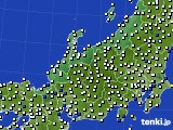 北陸地方のアメダス実況(風向・風速)(2020年10月11日)