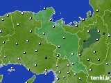 京都府のアメダス実況(風向・風速)(2020年10月11日)