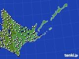 道東のアメダス実況(風向・風速)(2020年10月11日)