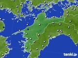 愛媛県のアメダス実況(風向・風速)(2020年10月11日)