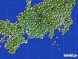 東海地方のアメダス実況(風向・風速)(2020年10月13日)