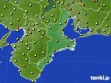 2020年10月14日の三重県のアメダス(気温)
