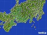 2020年10月16日の東海地方のアメダス(気温)