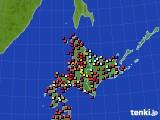 北海道地方のアメダス実況(日照時間)(2020年10月20日)