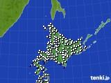 北海道地方のアメダス実況(風向・風速)(2020年10月20日)
