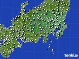 関東・甲信地方のアメダス実況(風向・風速)(2020年10月20日)