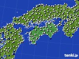 四国地方のアメダス実況(風向・風速)(2020年10月20日)