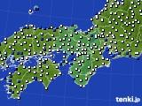近畿地方のアメダス実況(風向・風速)(2020年10月23日)