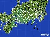 東海地方のアメダス実況(風向・風速)(2020年10月24日)