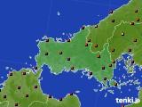 山口県のアメダス実況(日照時間)(2020年10月25日)