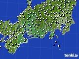 東海地方のアメダス実況(風向・風速)(2020年10月25日)