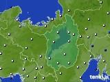 2020年10月25日の滋賀県のアメダス(風向・風速)
