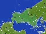 山口県のアメダス実況(風向・風速)(2020年10月25日)