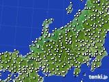 北陸地方のアメダス実況(風向・風速)(2020年10月27日)