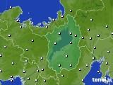 2020年10月28日の滋賀県のアメダス(風向・風速)