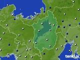 2020年10月29日の滋賀県のアメダス(風向・風速)