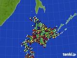 北海道地方のアメダス実況(日照時間)(2020年10月31日)