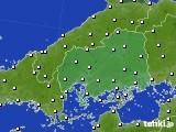 広島県のアメダス実況(風向・風速)(2020年10月31日)