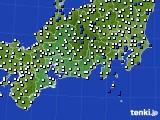 2020年11月22日の東海地方のアメダス(風向・風速)