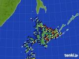 北海道地方のアメダス実況(日照時間)(2021年01月01日)