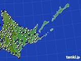 道東のアメダス実況(風向・風速)(2021年01月01日)