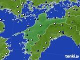 愛媛県のアメダス実況(風向・風速)(2021年01月17日)