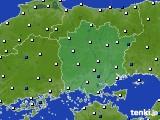 岡山県のアメダス実況(風向・風速)(2021年02月07日)