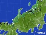 北陸地方のアメダス実況(降水量)(2021年02月09日)