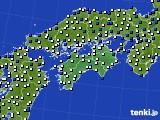 四国地方のアメダス実況(風向・風速)(2021年04月09日)
