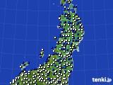 東北地方のアメダス実況(風向・風速)(2021年04月19日)