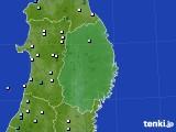 岩手県のアメダス実況(降水量)(2021年06月23日)