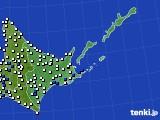道東のアメダス実況(風向・風速)(2021年06月23日)