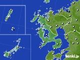 長崎県のアメダス実況(風向・風速)(2021年06月23日)