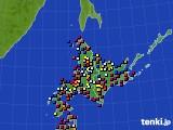 北海道地方のアメダス実況(日照時間)(2021年08月05日)