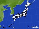 2021年10月10日のアメダス(風向・風速)