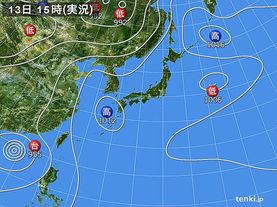 実況天気図(2013年08月13日)