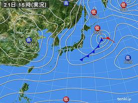 実況天気図(2014年01月21日)